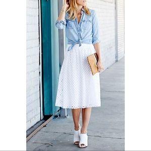 New! White Eyelet Midi Skirt